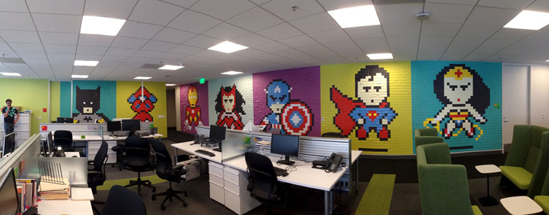 employee-uses-post-its-to-turn-drab-office-walls-into-giant-superhero-murals-121