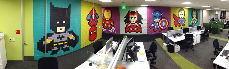 employee-uses-post-its-to-turn-drab-office-walls-into-giant-superhero-murals-131
