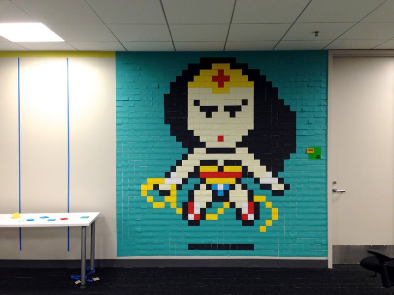 employee-uses-post-its-to-turn-drab-office-walls-into-giant-superhero-murals-7