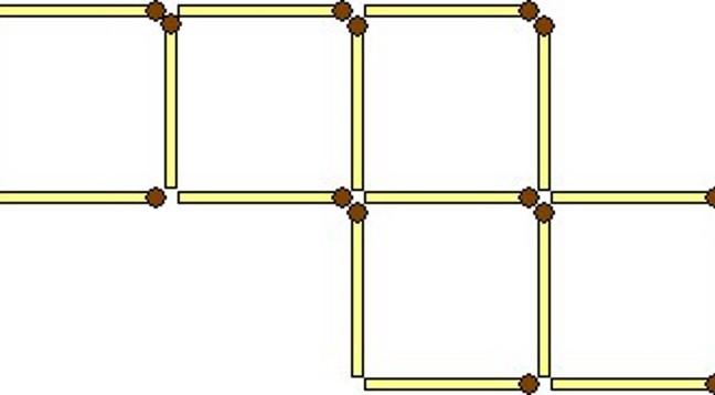 Перемістіть два сірники так, щоб вийшло 6 квадратів
