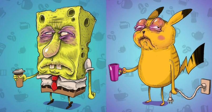 what-famous-cartoon-characters-look-like-before-their-morning-coffee-805x427