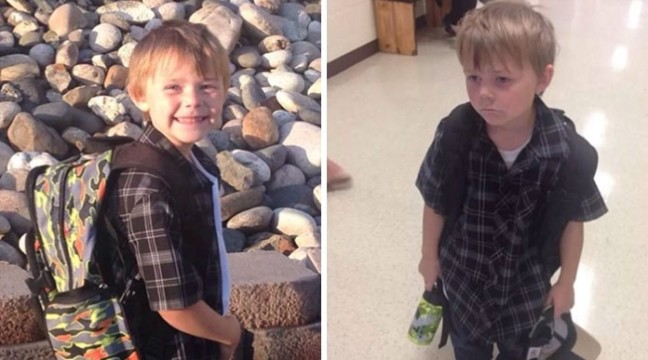 Веселі фото дітей у перші дні навчання: до і після