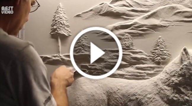 Настінна скульптура, зроблена шпателем. Справжній талант!