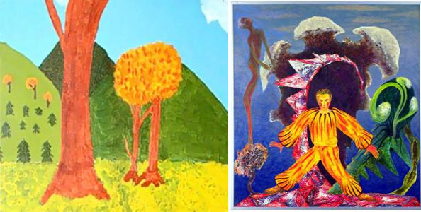 Два закоханих дерева (ліворуч),  Сад в коралових рифах (праворуч)