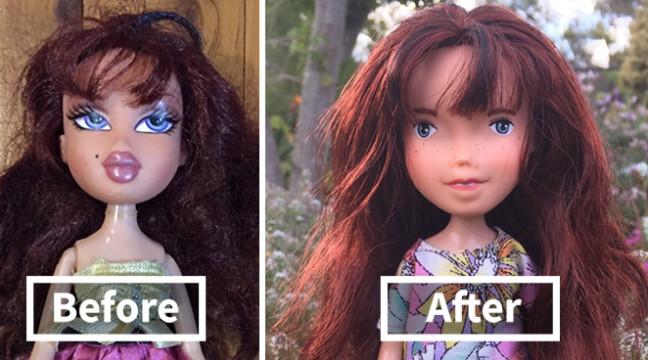"""Жінка """"змиває"""" з ляльок макіяж, щоб робити їх більш природними"""