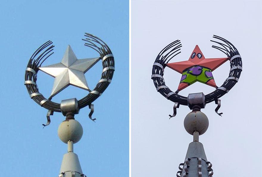 У Воронежі зірку на шпилі перетворили в Патріка з мультика «Губка Боб»