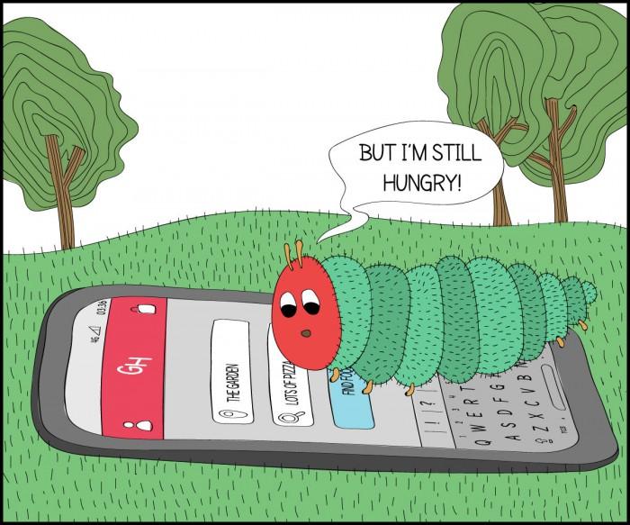 """Але я досі голодна!"" (Ерік Карл «Дуже голодна гусениця»)"
