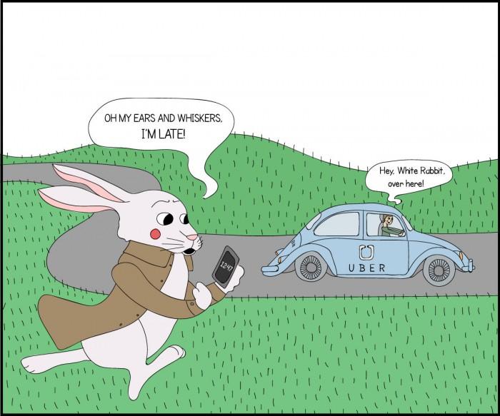 Ох, мої бідні вуха і вуса. Я запізнююсь!  - Агов, кролику, сюди! (Льюїс Керрол «Аліса в Країні чудес»)