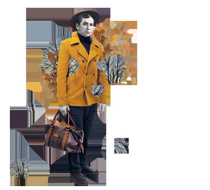 Речі: пальто Duck Side, штани ZEN WEAR,  гольф Caterina&me, капелюх «Шапельє», сумка Two Bulls & A Carriage