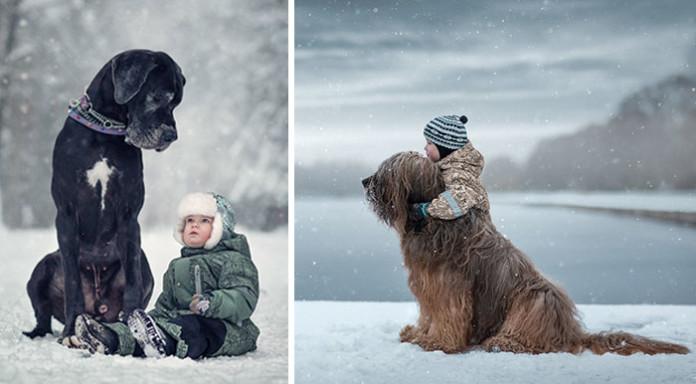 Маленькі діти і їхні великі собаки