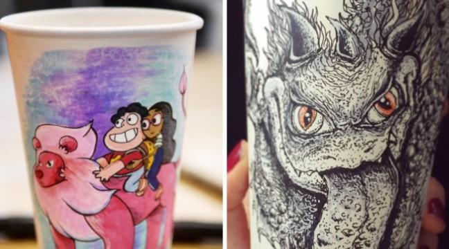 Ілюстратор перетворює звичайні паперові стаканчики у крутезні розмальовки