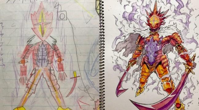 Тато преретворює малюнки свого сина у аніме-героїв. Дивіться, що з цього виходить