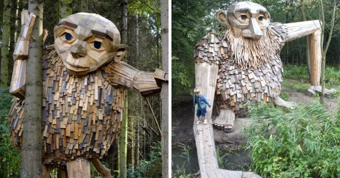 Чоловік із Данії перетворює старі піддони та інші залишки деревини у величезні скульптури